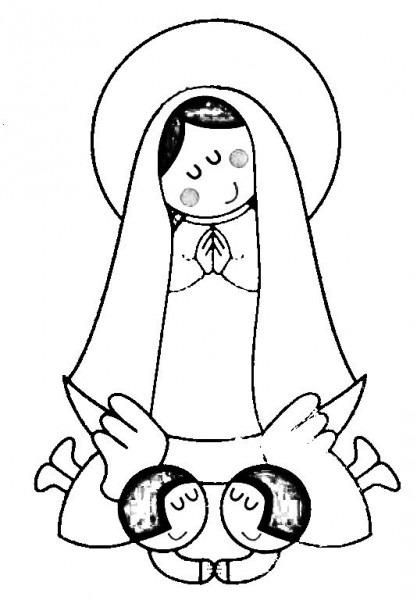 Dibujos Católicos   Virgen María Moderna Para Colorear
