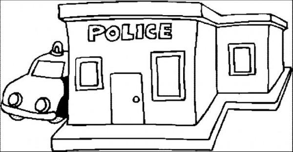 Police Station Para Colorear
