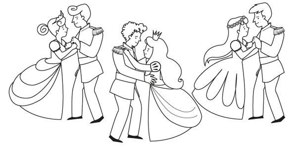 Baile De Príncipes  Dibujo Para Colorear E Imprimir