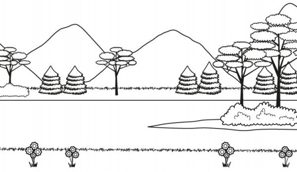 Paisaje De Montaña En Verano  Dibujo Para Colorear E Imprimir