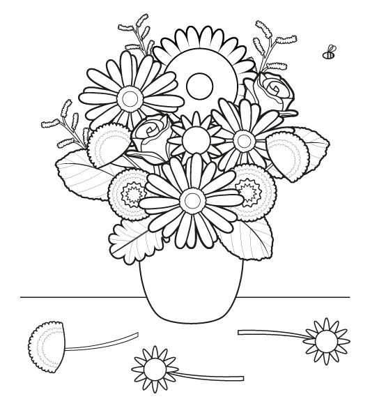 Ramo De Flores  Dibujo Para Colorear E Imprimir