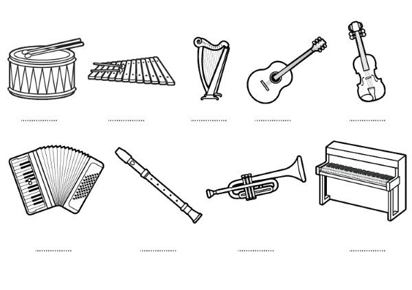 Instrumentos Musicales  Dibujos Para Colorear E Imprimir
