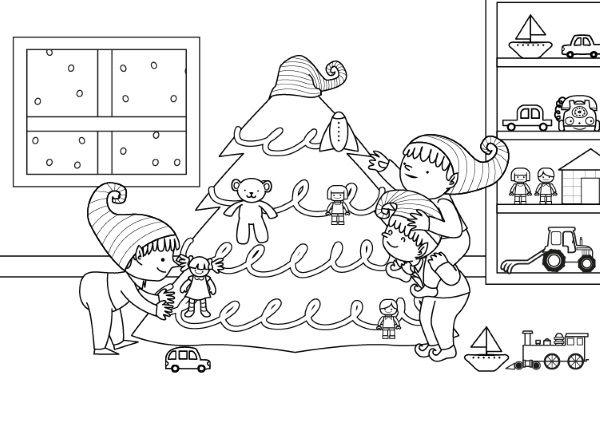 Duendes De Papá Noel  Dibujo Para Colorear E Imprimir