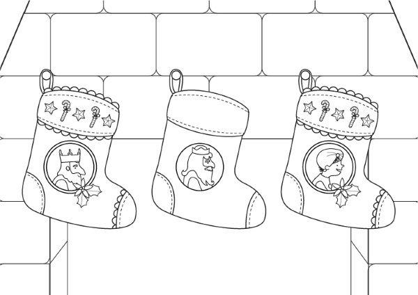 Calcetines De Navidad De Los Reyes Magos  Dibujo Para Colorear E