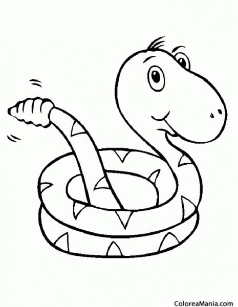 Colorear Serpiente Cascabel (reptiles), Dibujo Para Colorear Gratis