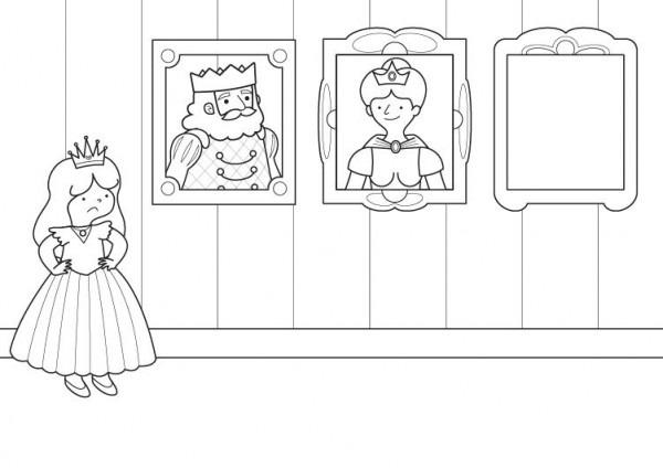 Imprimir  La Retrato De La Princesa  Dibujo Para Colorear E Imprimir
