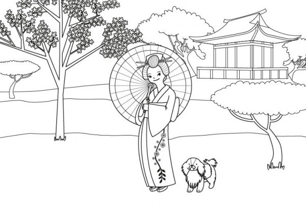Princesa Japonesa  Dibujo Para Colorear E Imprimir