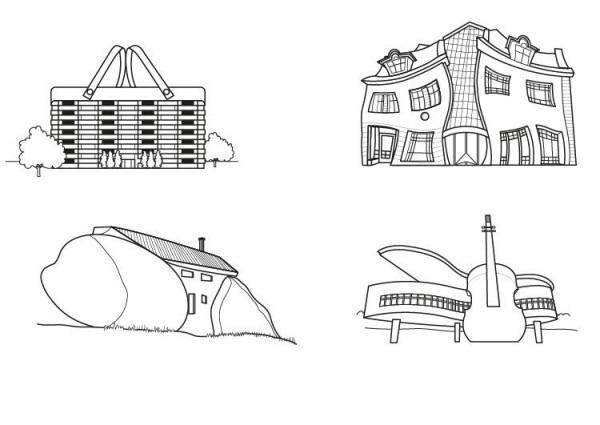 Edificios Divertidos  Dibujo Para Colorear E Imprimir
