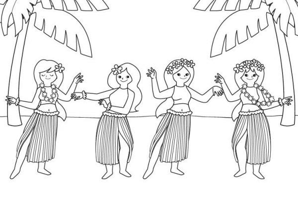 Bailarinas Hawaianas  Dibujo Para Colorear E Imprimir