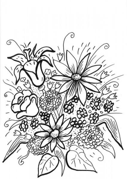 Flores Silvestres  Dibujo Para Colorear E Imprimir