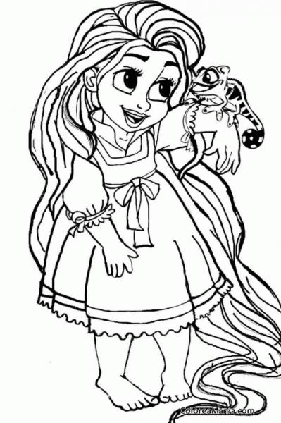 Colorear Rapunzel De Pequeña (enredados