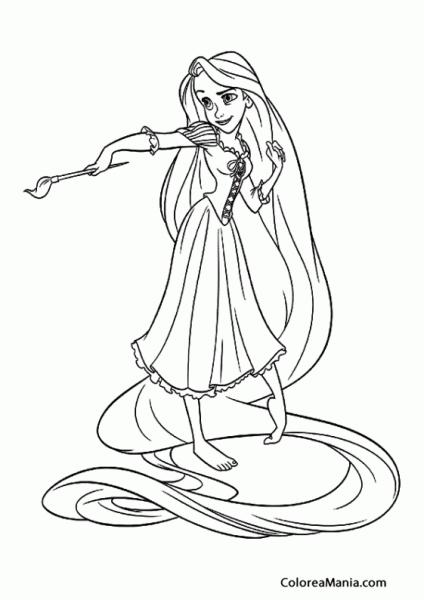 Colorear Rapunzel Pintando 2 (enredados