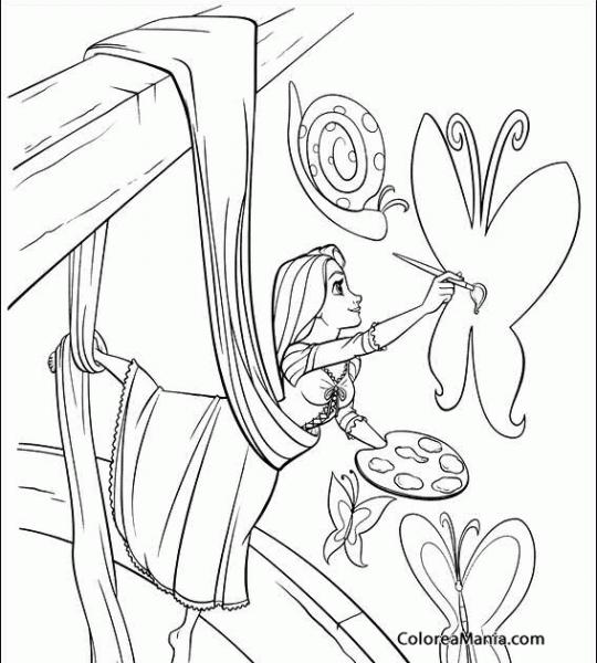 Colorear Rapunzel Pintando Una Mariposa (enredados
