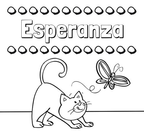 Nombre Esperanza  Colorear Un Dibujo Con Nombre, Gato Y Mariposa