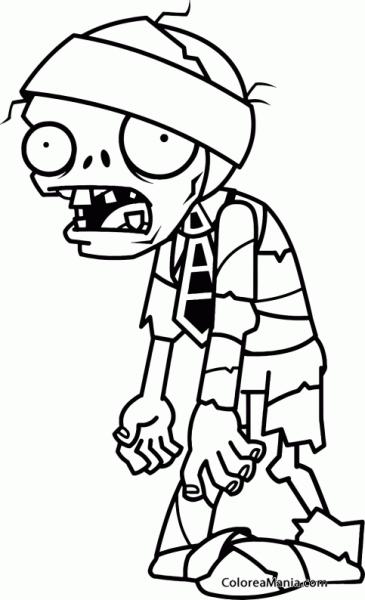 Colorear Momia Zombie (plants Vs Zombies), Dibujo Para Colorear Gratis