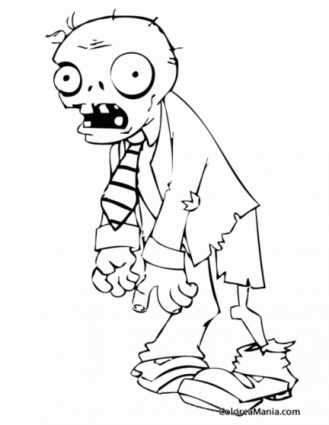 Colorear Zombie (plants Vs Zombies), Dibujo Para Colorear Gratis