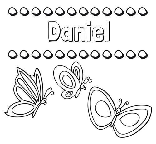 Nombre Daniel  Imprimir Un Dibujo Para Colorear De Nombres Y Mariposas
