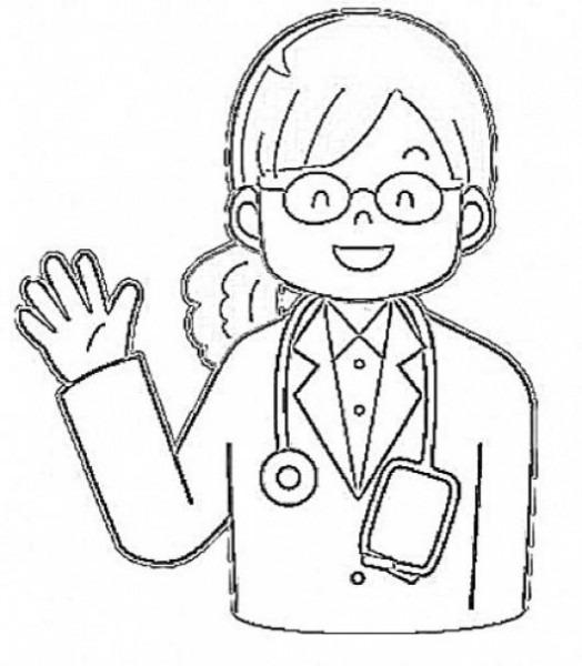 Dibujo De Doctora Para Pintar Y Colorear Pediatra Sonriente