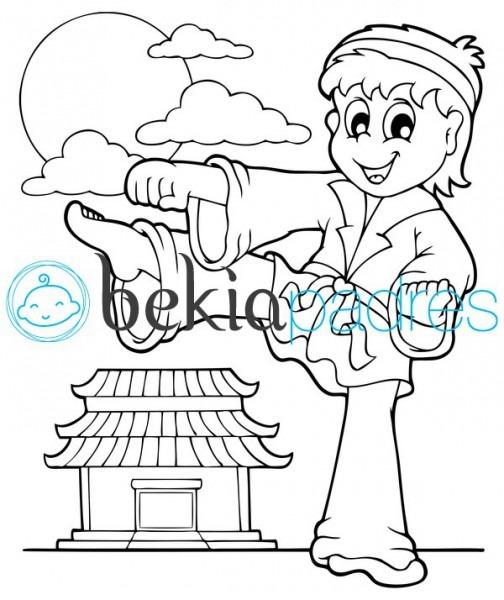 Niño Practicando Taekwondo  Dibujo Para Colorear