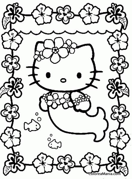 Colorear Hello Kitty De Sirena (hello Kitty), Dibujo Para Colorear