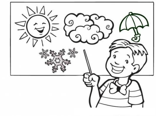 Dibujo De Nino Exponiendo Sobre El Clima Para Colorear