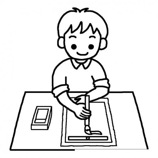 Dibujo De Un Nino Pintando Con Un Pincel Para Pintar Y Colorear