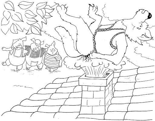 Dibujos De Los Tres Cerditos Y El Lobo Para Colorear