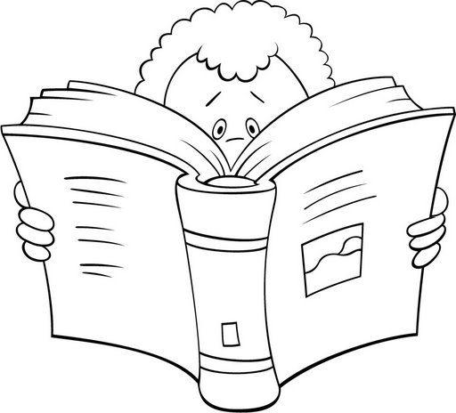 Dibujos De Niños Leyendo Libros Para Colorear
