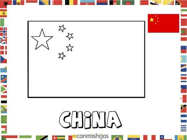 Bandera De China  Dibujos De Banderas Para Pintar