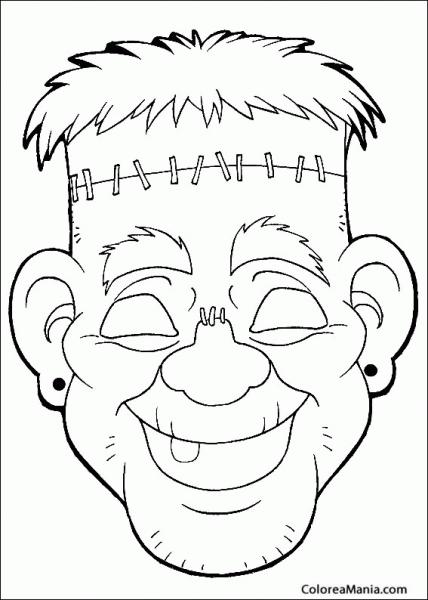 Colorear Máscara Frankenstein (máscara  Careta  Antifaz ), Dibujo
