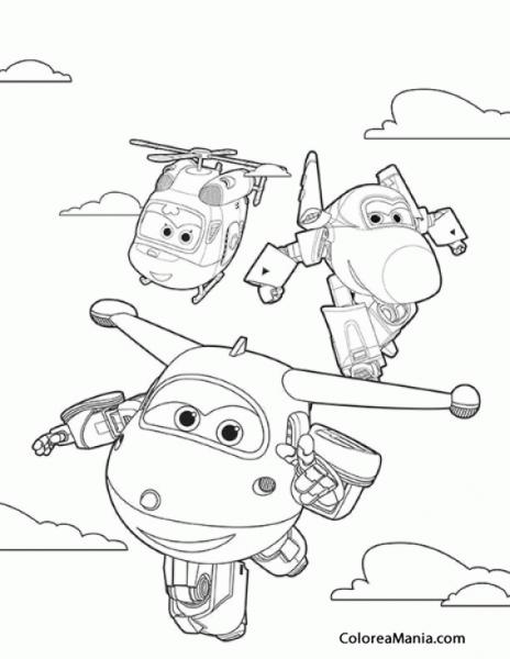 Colorear Dizzy, Jerome Y Jett (super Wings), Dibujo Para Colorear