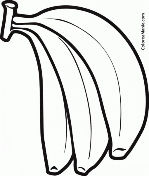 Colorear Tres Bananas (frutas), Dibujo Para Colorear Gratis