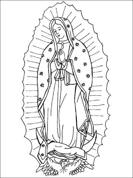 Imágenes De La Virgen De Guadalupe Para Colorear