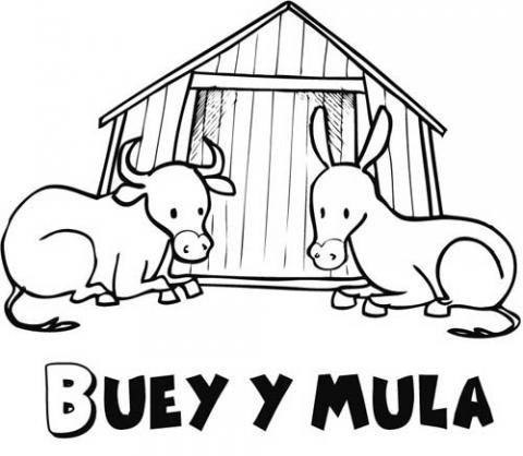 Buey Y Mula Para Colorear  Dibujos Del Belén De Navidad Para Niños