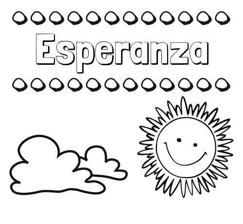 Nombre Esperanza  Dibujo De Nombres En El Cielo Para Pintar