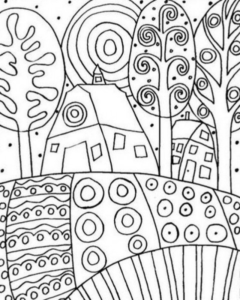 Dibujo Para Colorear Relajante Gustav Klimt