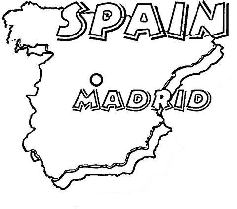 Mapa De España  Su Capital Es Madrid  Dibujo Para Colorear