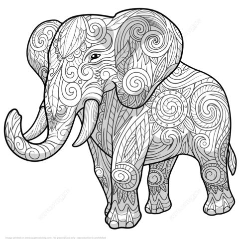 Zentangle De Elefante Étnico Dibujo Para Colorear …