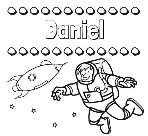 Nombre Daniel  Dibujo De Nombres En El Espacio Para Imprimir