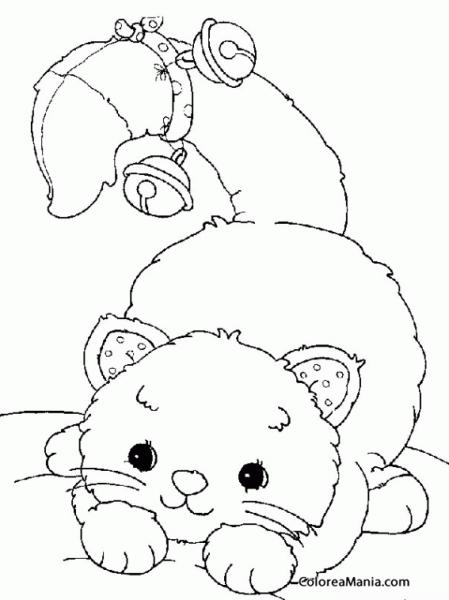 Colorear Gatito, Cola Con Cascabel (animales Domésticos), Dibujo