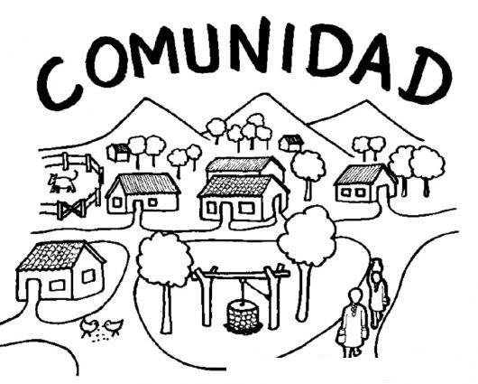 Dibujo De Comunidad Para Pintar Y Colorear Pueblo Barrio Aldea