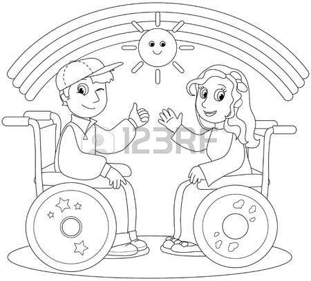 Discapacitados Felices  Ilustración Para Colorear De Niño