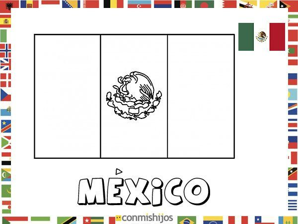Bandera De México  Dibujos De Banderas Para Pintar