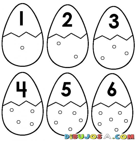 Numero 6 Dibujo De Seis Huevos Para Pintar Y Colorear Numeroseis