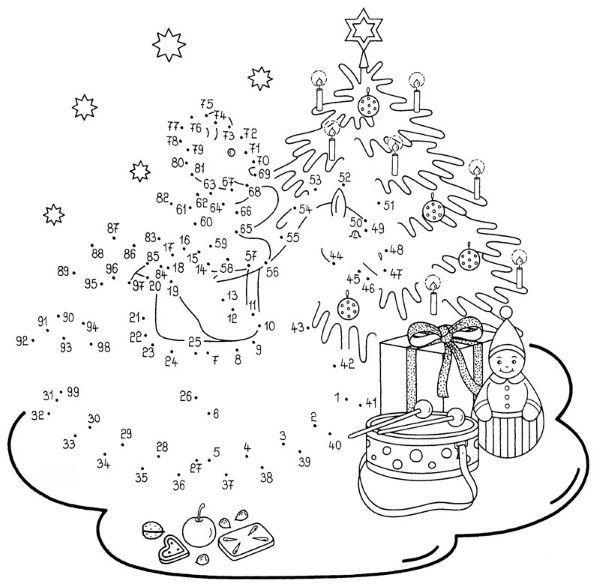 Dibujo De Unir Puntos De árbol En Navidad  Dibujo Para Colorear E