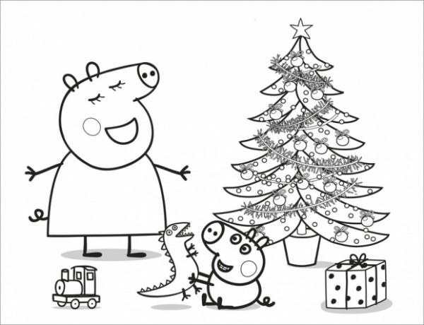 A Colorear   Peppa Pig Y El Arbol De Navidad » Ninospekes