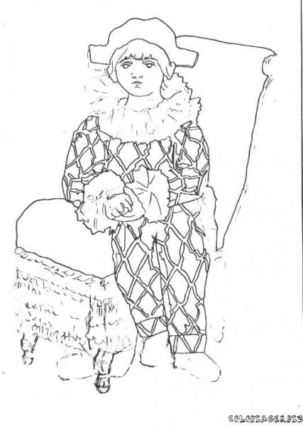 Arlequim De Picasso Para Colorear