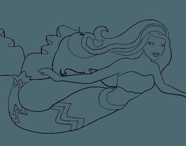 Dibujo De Barbie Sirena Para Colorear
