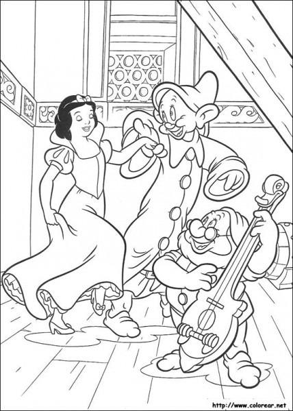 Dibujo Para Colorear De Blancanieves Y Los 7 Enanitos