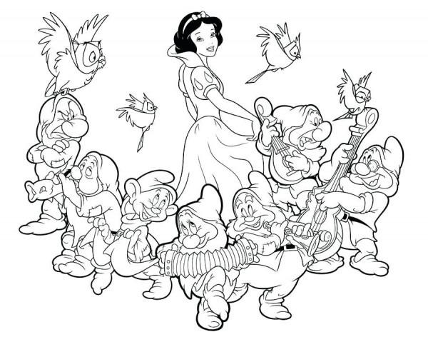 Blancanieves Y Los 7 Enanitos Para Colorear